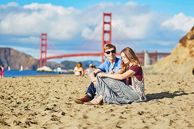 Couple at San Francisco's Baker Beach