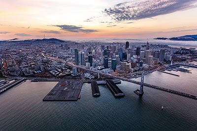 An aerial view of San Francisco at sunset