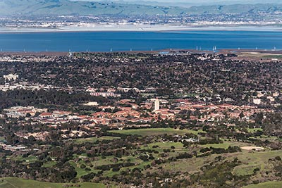 An aerial view of Palo Alto and Stanford University