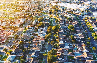 An aerial view of Hawthorne, California