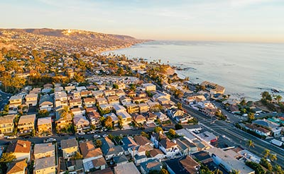 A aerial view of Laguna Beach, California