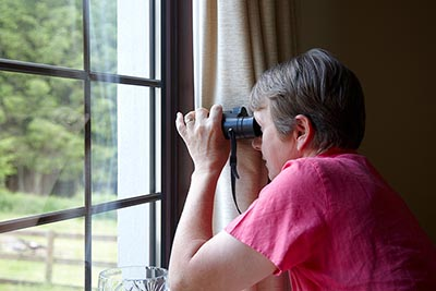Neighbor spying out the window with binoculars