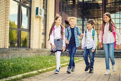Four elementary school children