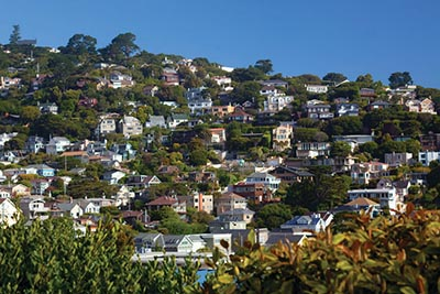 Homes on a hill in Sausalito, California