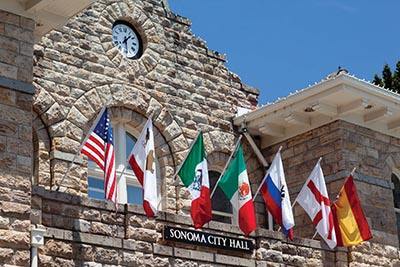 Flags at Sonoma's city hall