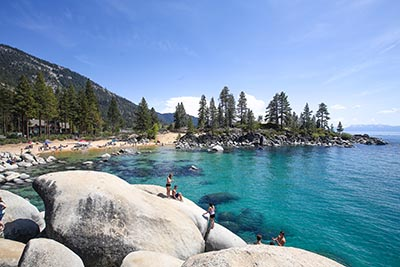 People swimming in Lake Tahoe