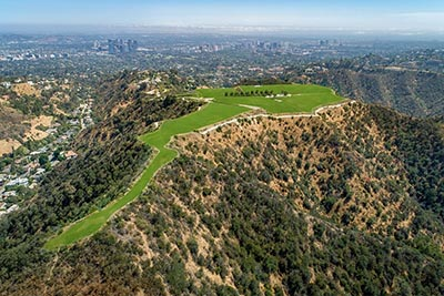 An aerial view of Beverly Hills Mountain