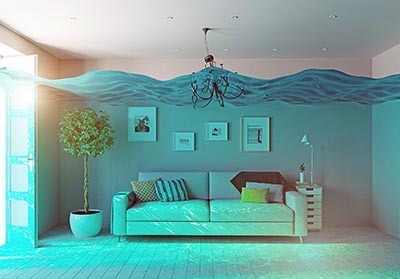 A living room under water