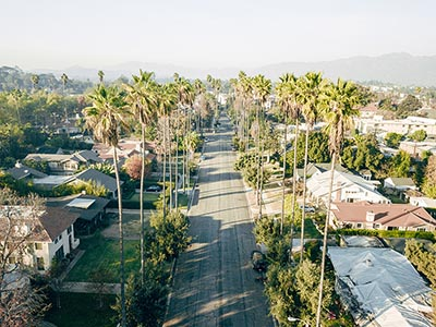 A palm-tree-lined street in California