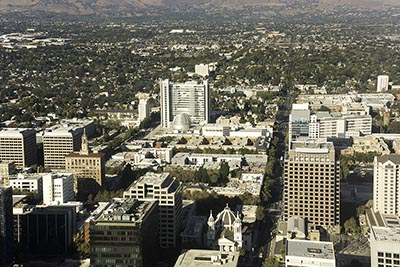 An aerial view of downtown San Jose, California