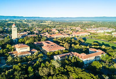 An aerial view of Stanford University, one of the largest employers in the Santa Clara County city of Palo Alto.