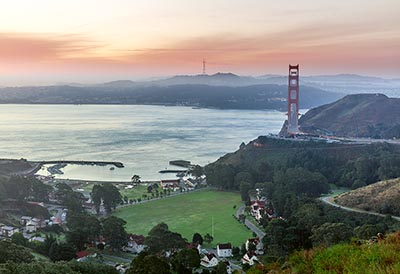 A view of the Golden Gate Bridge from Marin County's Fort Baker