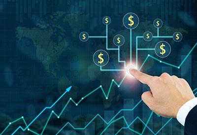 Finger touching a finance chart