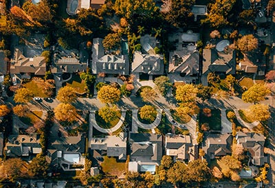 An aerial view of a California suburb