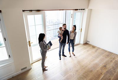 Young family buying home.